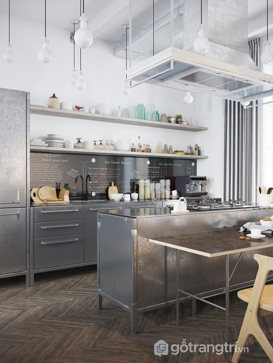 Thiết kế bếp mang những nét đặc trưng của phong cách Industrial