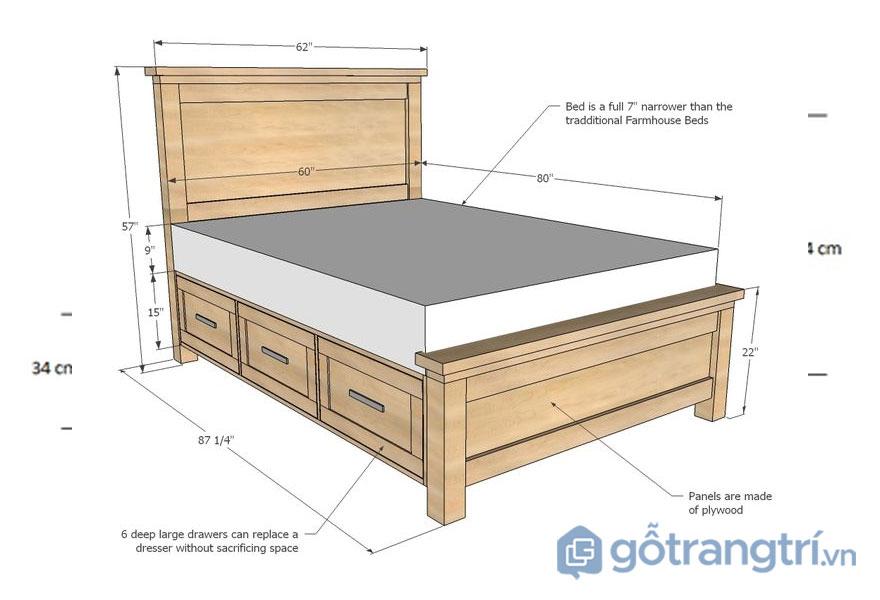 Kích thước giường ngủ theo phong thuỷ: giường ngủ full – size