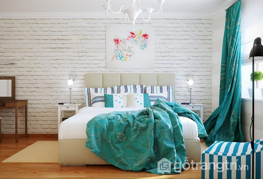 Phòng ngủ ứng dụng màu xanh ngọc