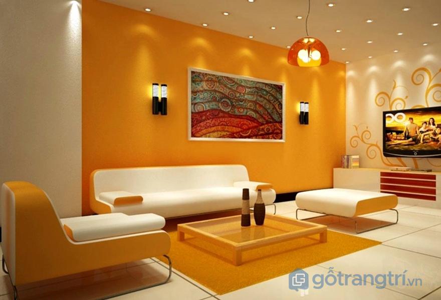 Màu cam chủ đạo trong thiết kế phòng khách