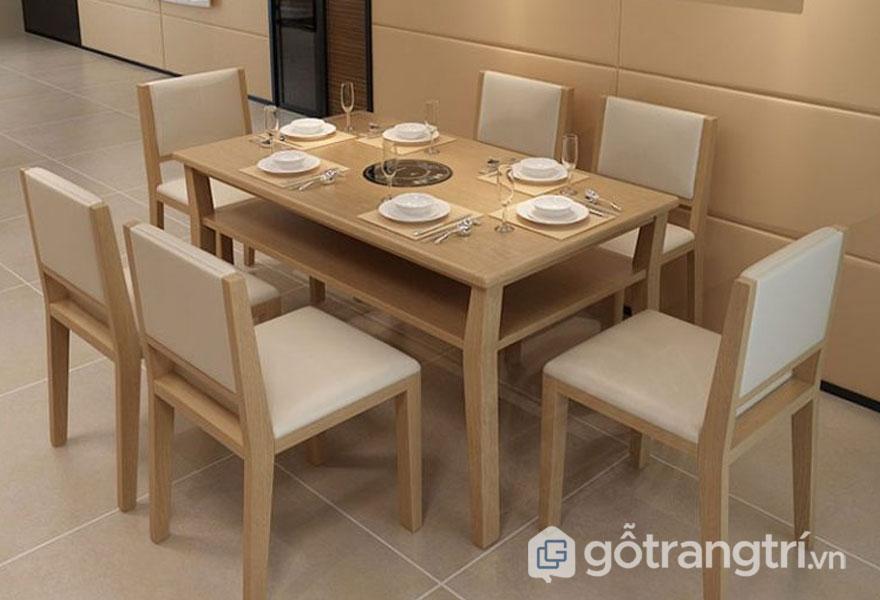 Mẫu bàn ăn đẹp hiện đại: Bàn ăn gỗ sồi