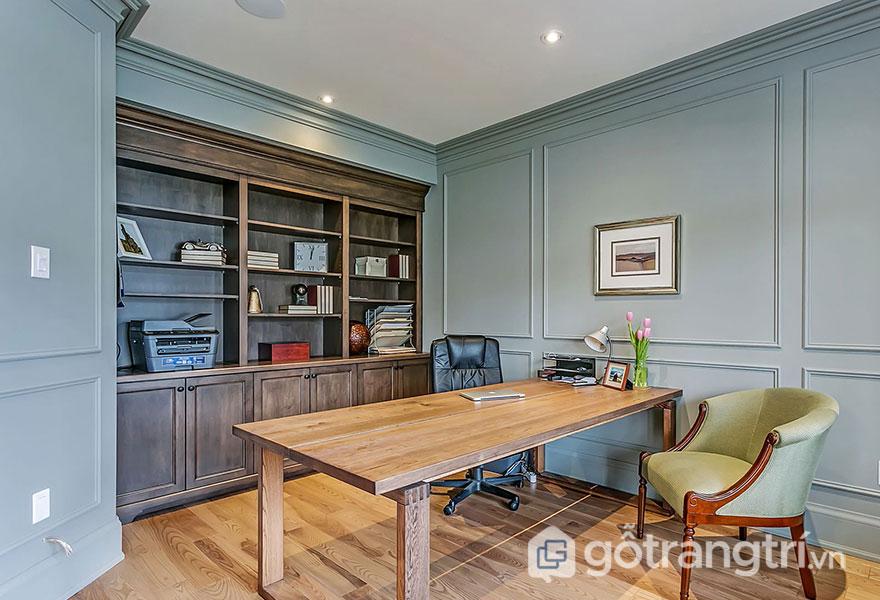 Mẫu bàn làm việc bằng gỗ tự nhiên: Hiện đại 01