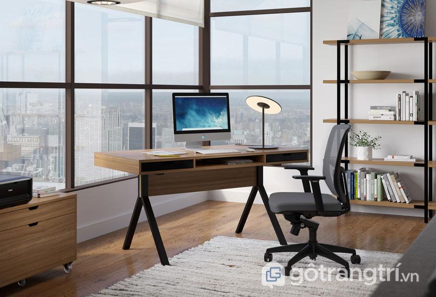 Mẫu bàn làm việc bằng gỗ tự nhiên: Hiện đại 04