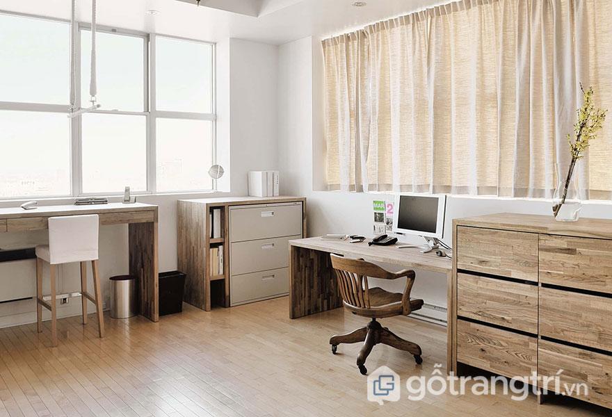 Mẫu bàn làm việc bằng gỗ tự nhiên: Đơn giản 02