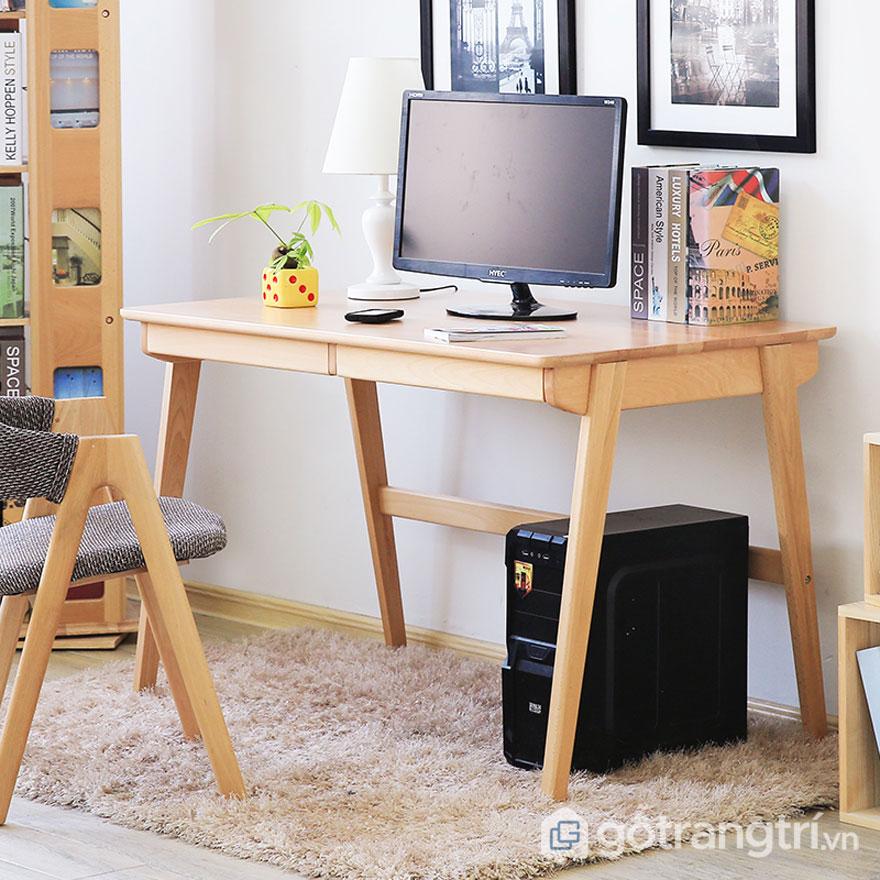 Mẫu bàn làm việc bằng gỗ tự nhiên: Đơn giản 03