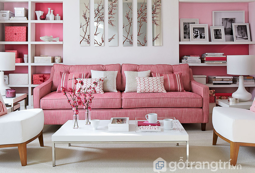 Không gian mang màu hồng rose quartz ấn tượng