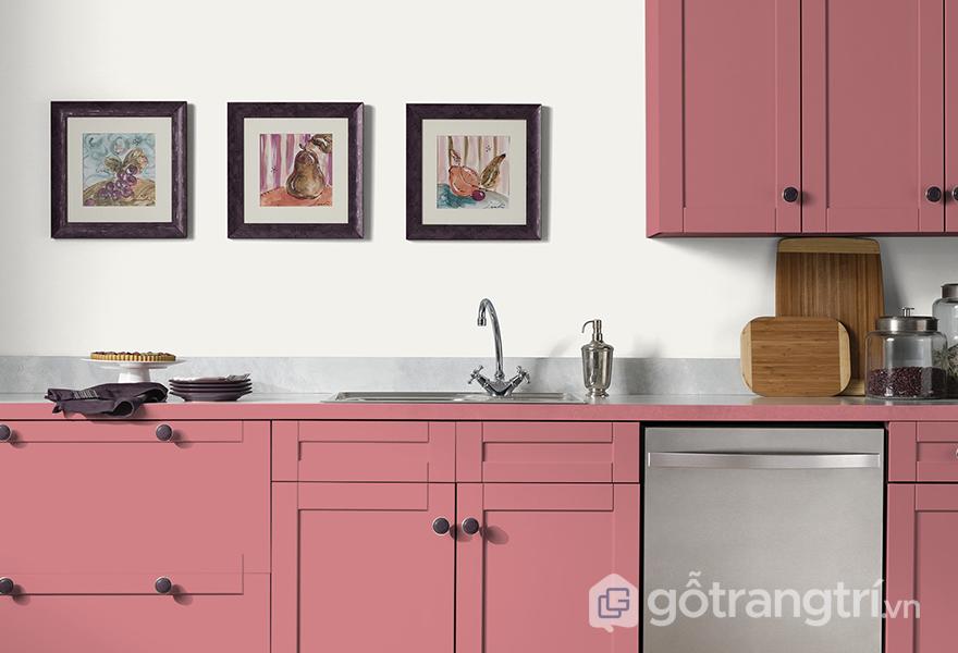 Màu hồng rose quartz trong thiết kế gian bếp
