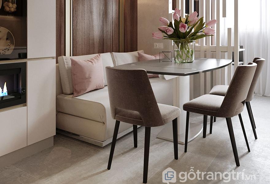 Màu hồng rose quartz được ứng dụng trong không gian ăn uống