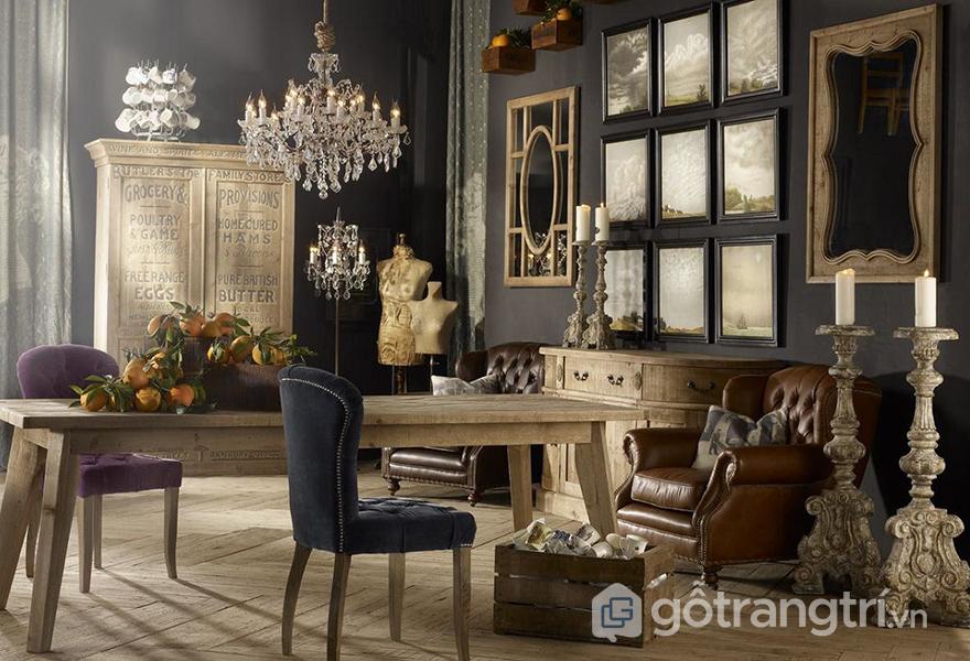 Những món đồ nội thất trong phong cách này thường có màu trầm, tối