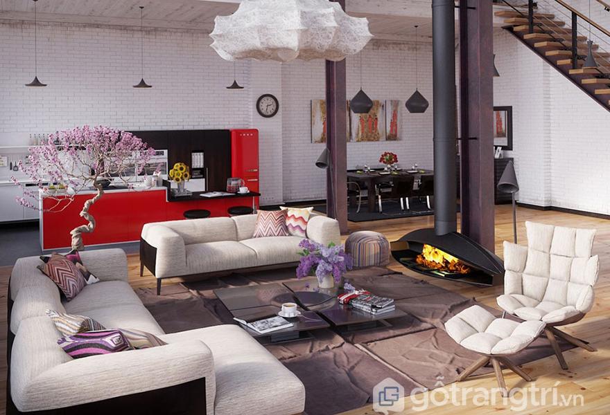 Mẫu căn hộ với phong cách Industrial hiện đại
