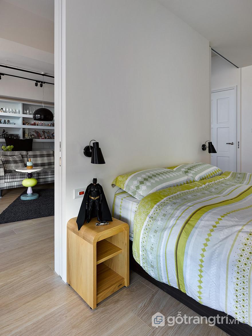 Giường ngủ đơn giản với màu sắc nhẹ nhàng