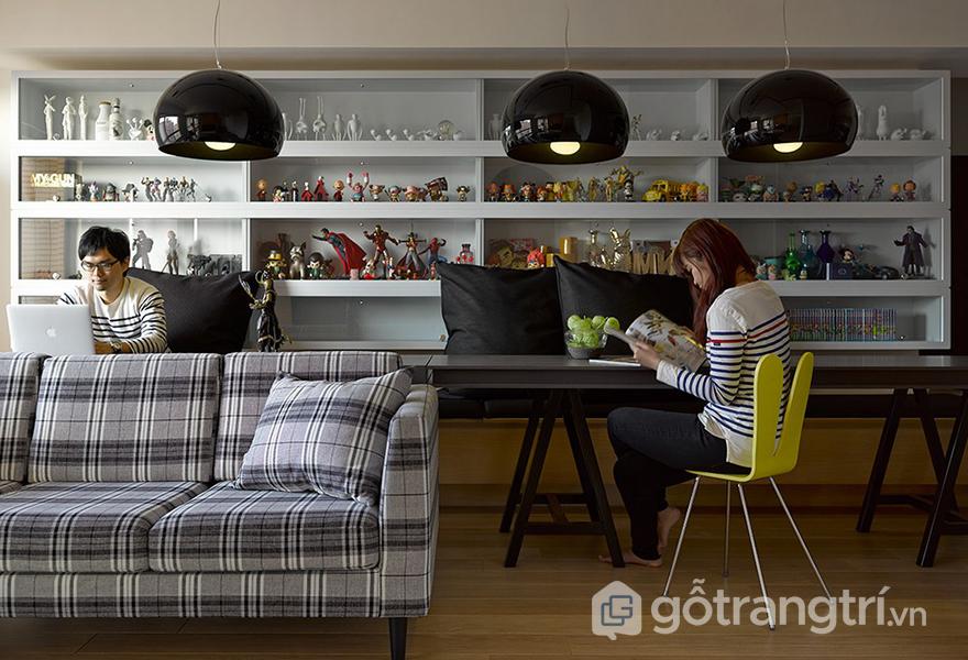 Thiết kế căn hộ như 1 quán cafe với các khu vực khác nhau