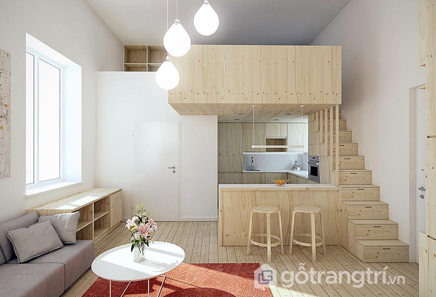 Những màu trung tính với tông màu tươi sáng thường được sử dụng trong căn hộ nhỏ