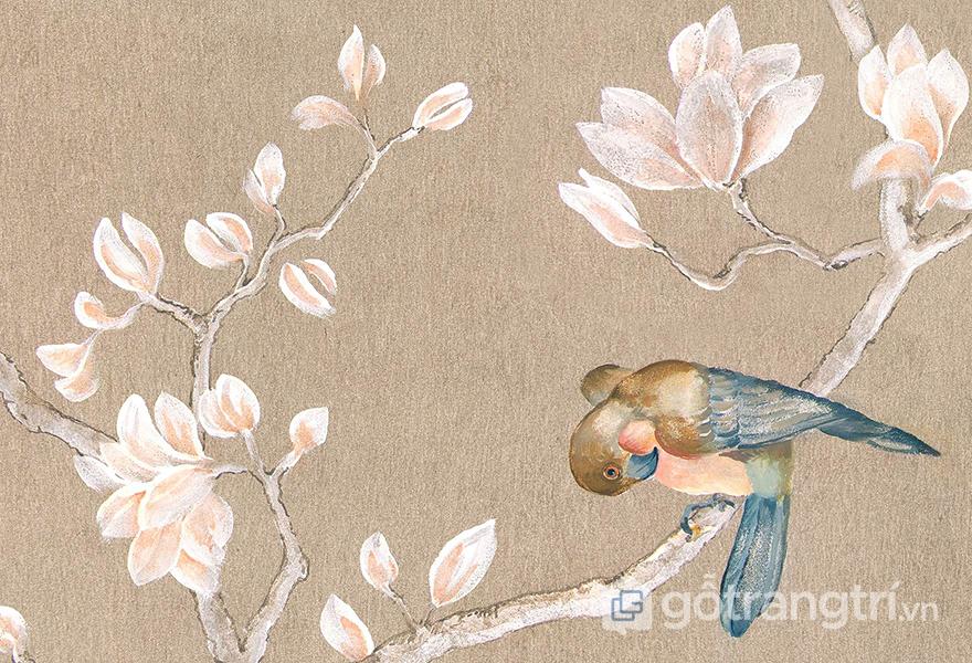 Hình ảnh chú chim đậu trên cành hoa quen thuộc trong phong cách Chinoiserie