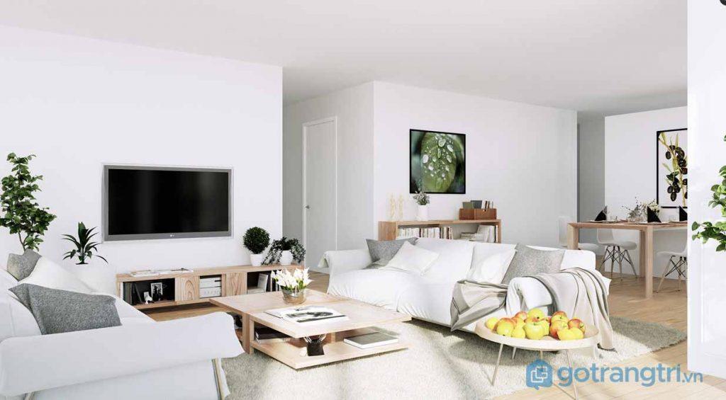 Thiết kế nội thất phòng khách với sắc trắng