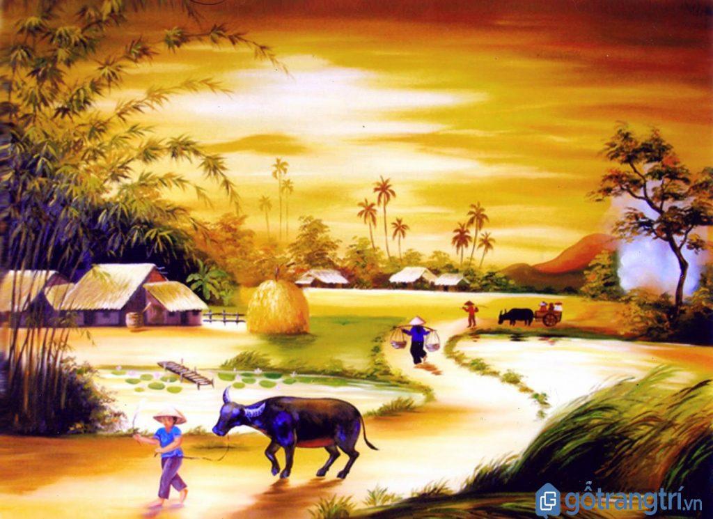 Bức tranh quê - sản phẩm thêu tay của nghệ nhân làng thêu Minh Lãng
