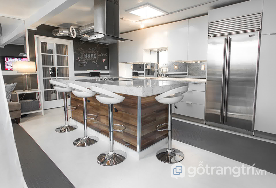 Mẫu thiết kế ghế quầy bar trong căn bếp hiện đại