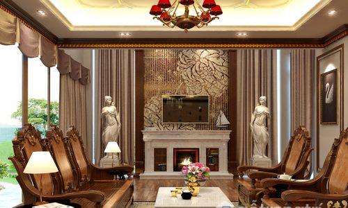 Mẫu thiết kế biệt thự với nội thất gỗ điêu khắc sang trọng đẳng cấp
