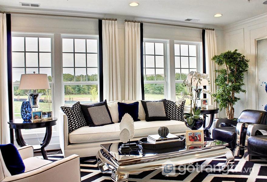 Mẫu sàn nhà họa tiết hình học trong thiết kế phòng khách