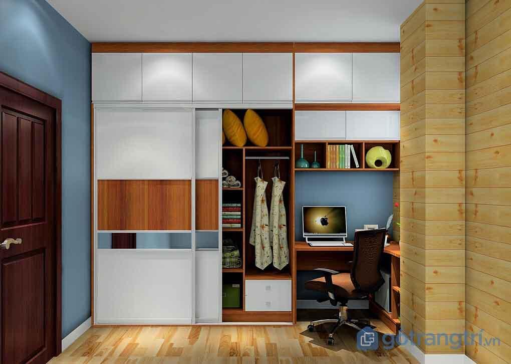 Tủ quần áo kết hợp bàn làm việc khiến không gian trở nên rộng hơn