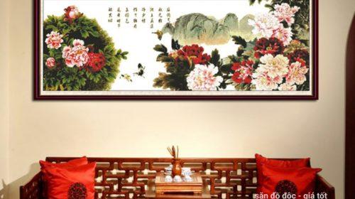 Tổng hợp những mẫu tranh hoa mẫu đơn treo phòng khách đẹp nhất