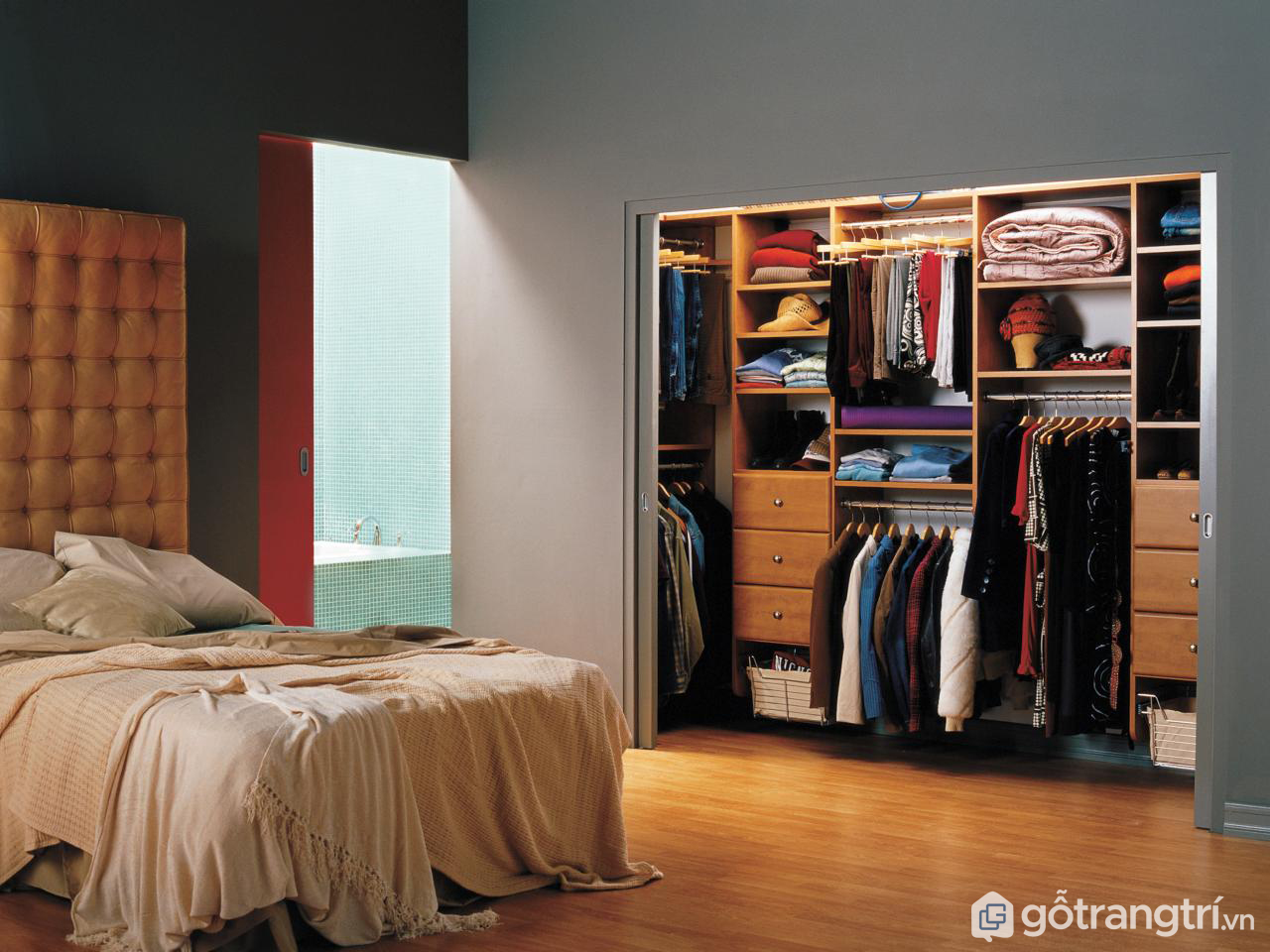 Tủ quần áo âm tường theo phong cách hiện đại