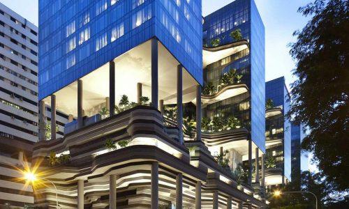 Không gian xanh tươi mát từ vườn xếp lớp trong khách sạn Parkroyal
