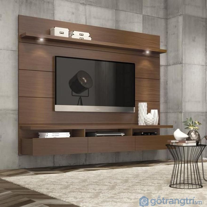 Kệ tivi treo tường phòng khách gỗ tự nhiên