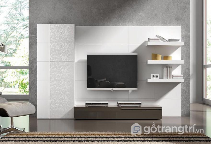 Lựa chọn kích thước và kiểu dáng cho kệ tivi treo tường phòng khách