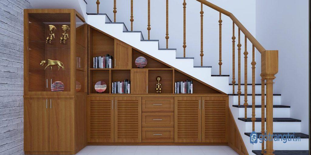 Tủ âm tường đa năng trang trí chân cầu thang. (ảnh: internet)
