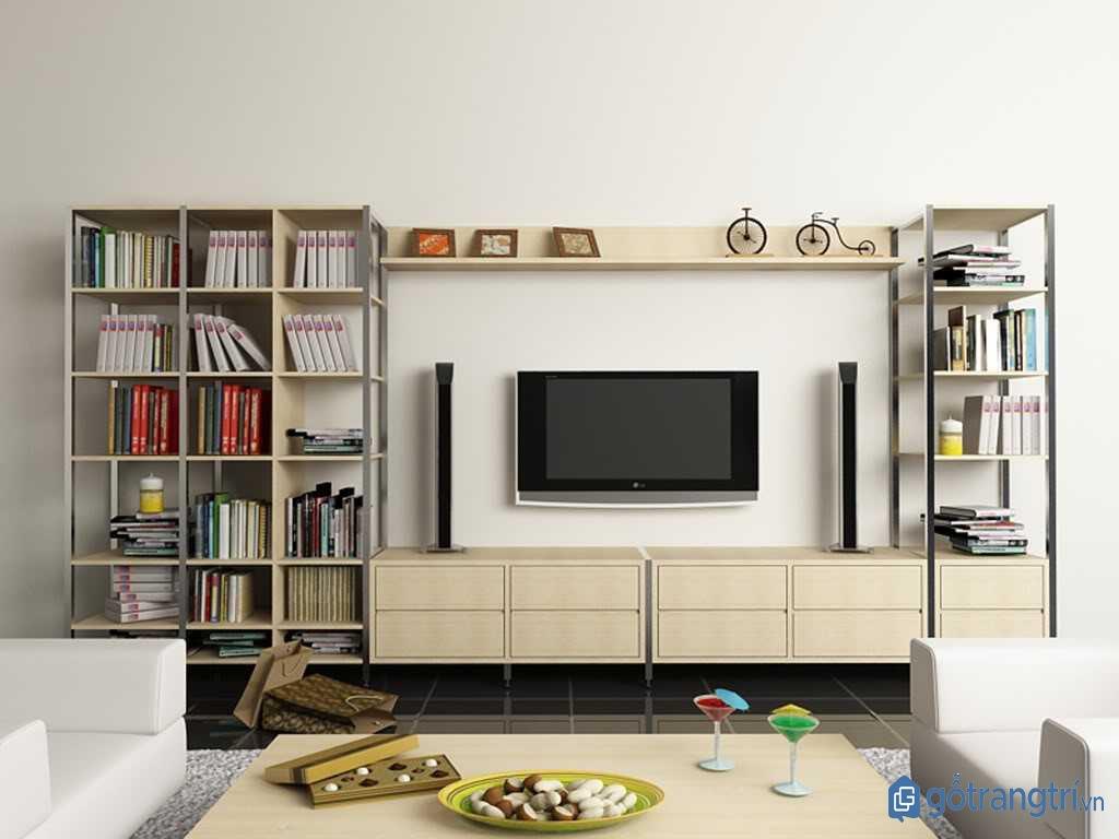 Kệ tivi kết hợp giá sách tiện nghi cho phòng khách nhỏ. (Ảnh: internet)