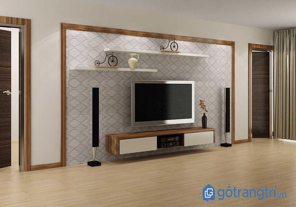 Kệ tivi cho phòng khách nhỏ treo tường bằng gỗ hiện đại (Ảnh: Internet)