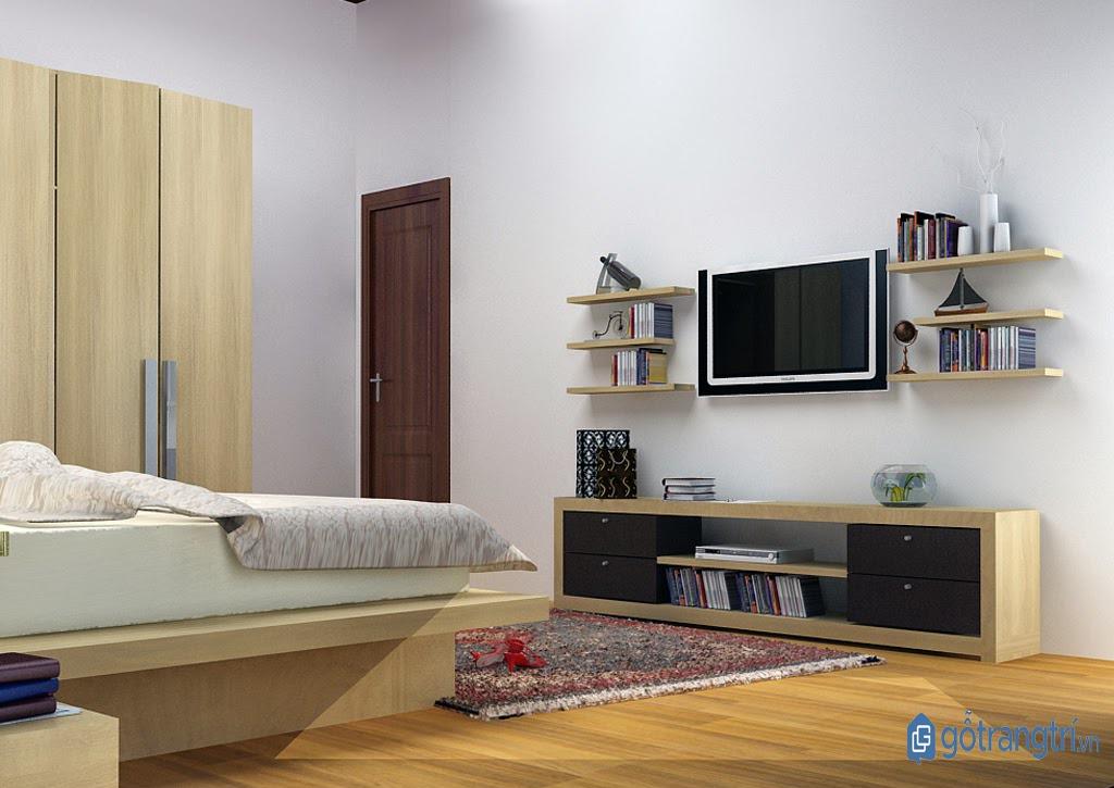 Kệ tivi kết hợp giá sách cho phòng ngủ nhỏ. (ảnh: internet)