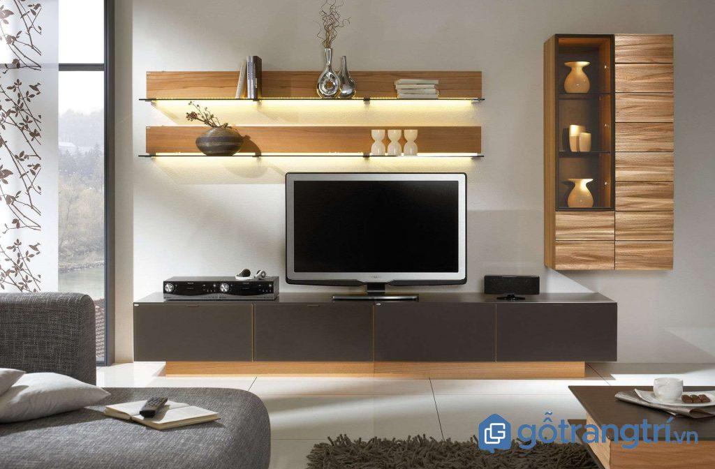 Chọn màu sắc kệ tivi cho phòng khách nhỏ sao cho phù hợp tổng thể nội thất. (Ảnh: internet)