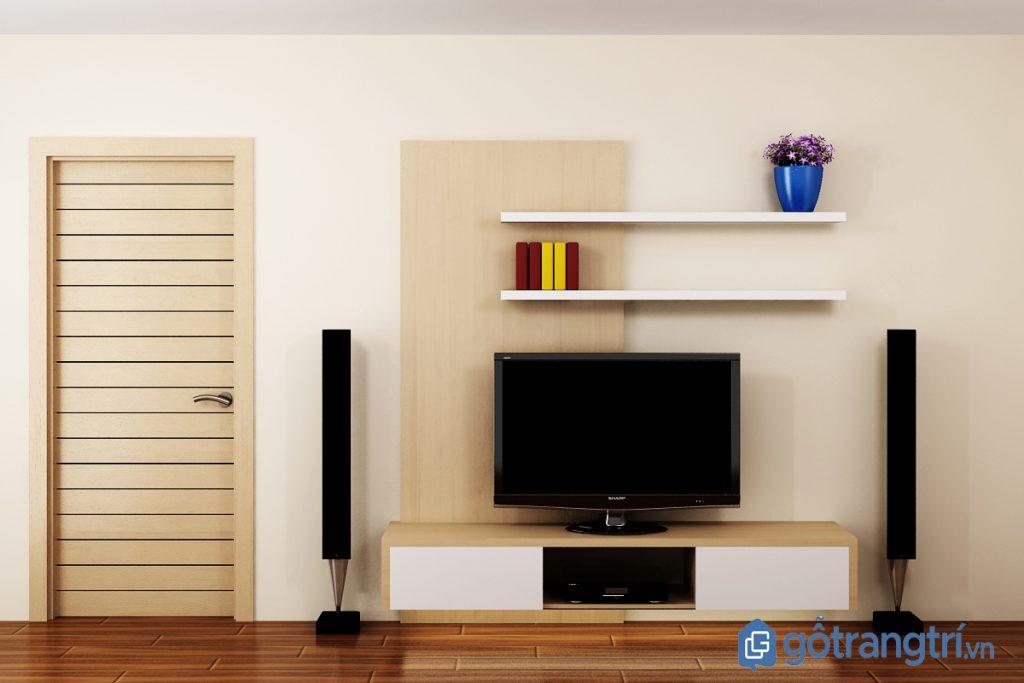 Mẫu kệ tivi cho phòng khách nhỏ treo tường kết hợp kệ trang trí đơn giản. (Ảnh: internet)