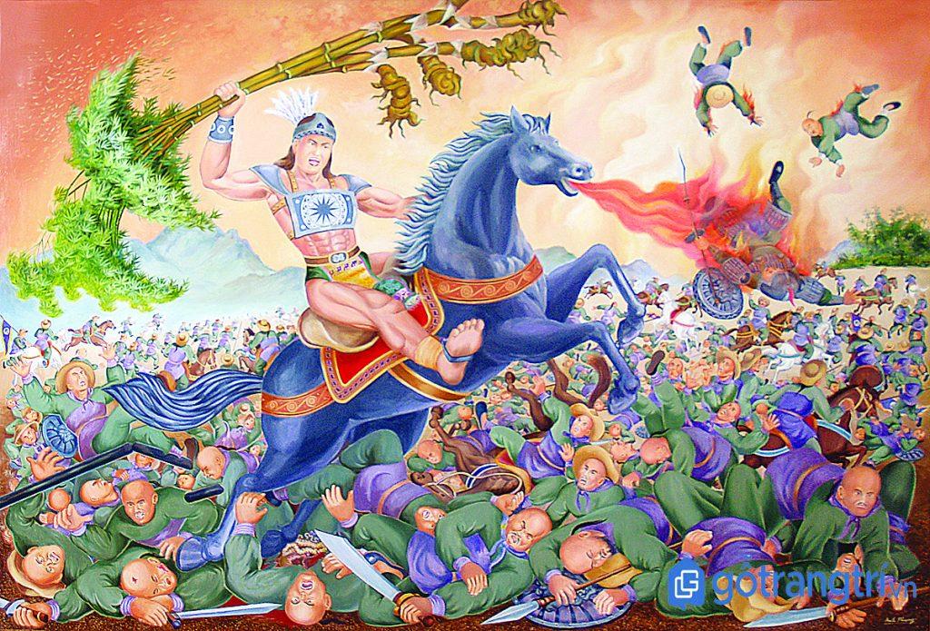 Tranh vẽ mô phỏng trận chiến chống quân ngoại xâm của Thánh Gióng. (Ảnh: Internet)
