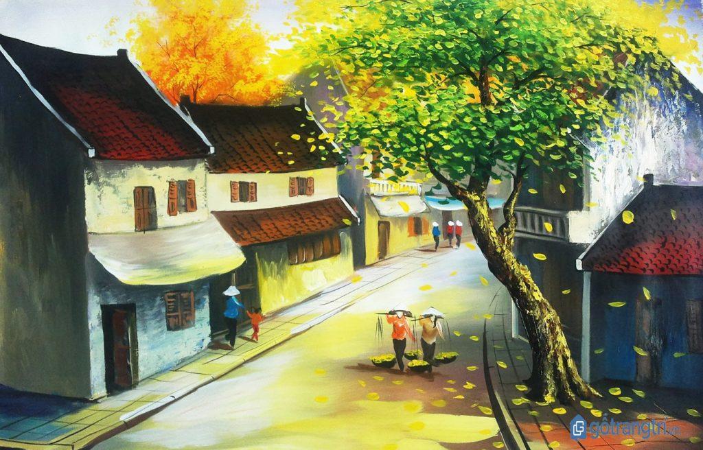 Bức tranh làng quê của nghệ nhân làng nghề sơn mài Bình Dương. (Ảnh: internet)