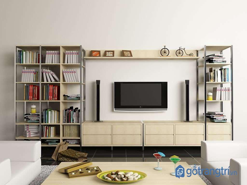 Kệ tivi cho phòng khách nhỏ kết hợp giá sách tiện dụng. (Ảnh: Internet)