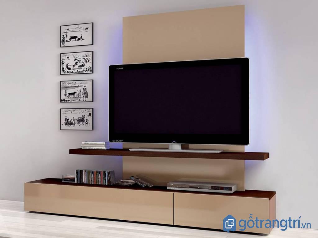 Mẫu kệ tivi cho phòng khách nhỏ bằng gỗ hiện đại kết hợp kệ treo (Ảnh: Internet)