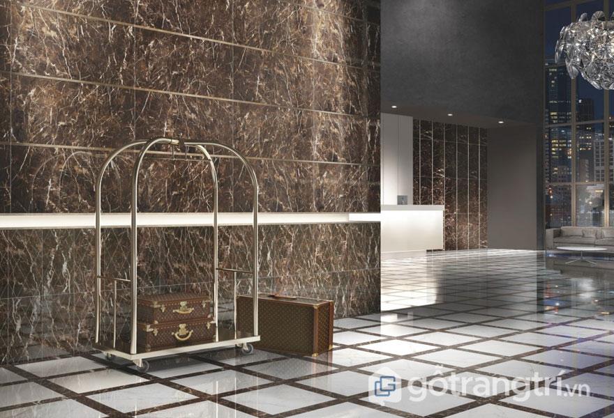 Gạch mosaic đá marble trang trí nhà hàng, khách sạn, tiền sảnh - Ảnh: Internet