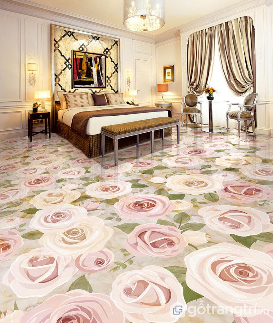 Gạch ốp lát nền 3D hình hoa hồng khiến cho phòng ngủ tràn ngập sự tươi mới - Ảnh: Internet