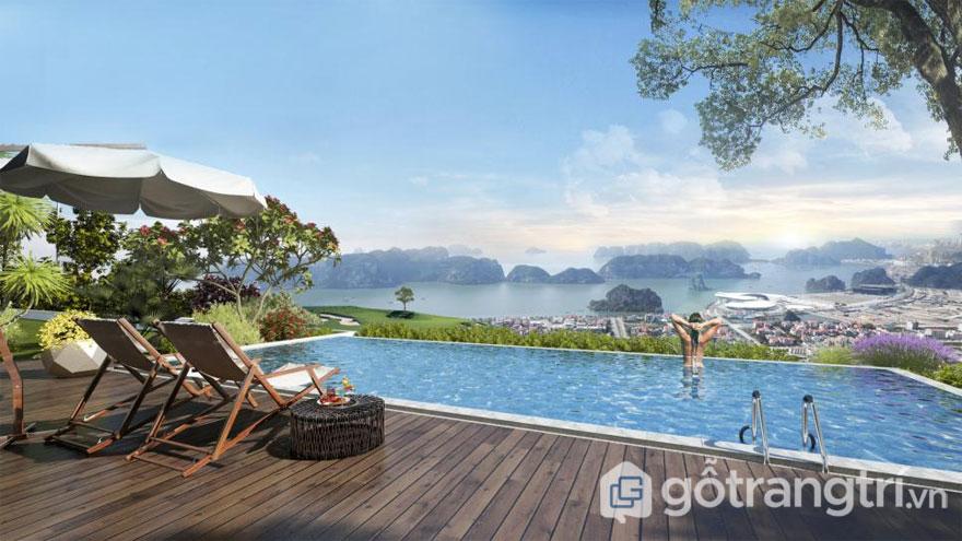 Bể bơi resort FLC Hạ Long được lát sàn gỗ nhựa ngoài trời (nguồn http://flchalong.vn)
