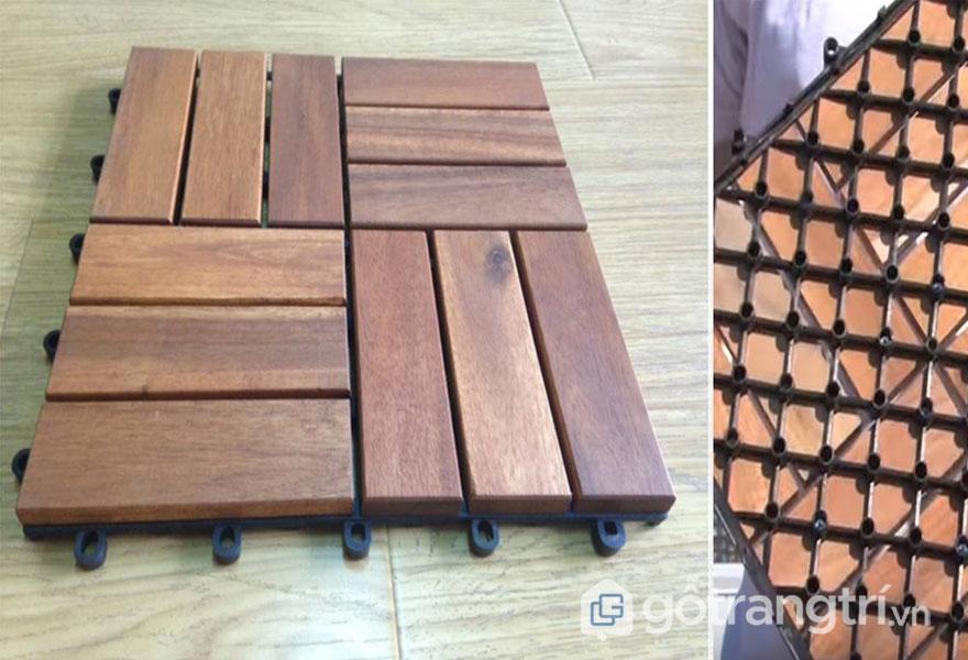 Gỗ vỉ lát sàn có cấu tạo gồm phần gỗ ở trên và phần vỉ nhựa ở dưới. Phần vỉ nhựa bên ngoài gồm các chốt khóa còn có những lỗ để đánh ốc cố định với lớp bên trên - Ảnh: Internet