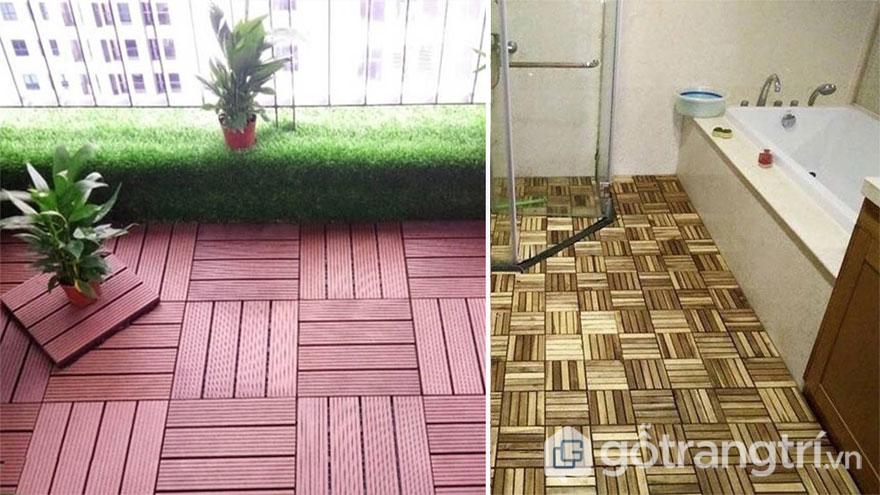 Gỗ vỉ lát sàn dùng ở ban công hay nhà tắm - Ảnh: Internet