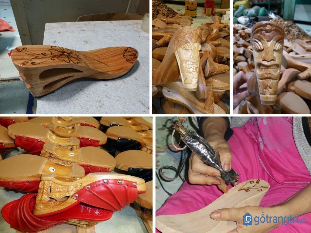 Sản phẩm từ nghề guốc truyền thống được chạm khắc tinh tế. (ảnh: internet)