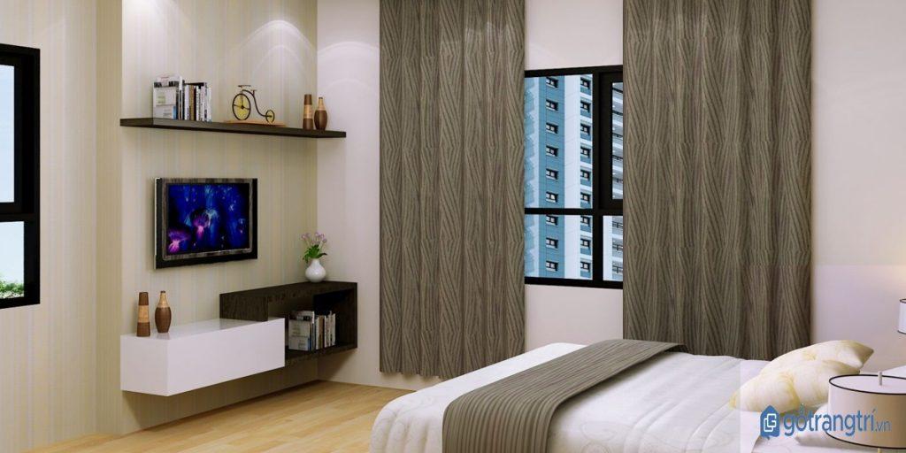 Đặt kệ tivi phòng ngủ phù hợp phong thủy nội thất của gia chủ. (ảnh: internet)