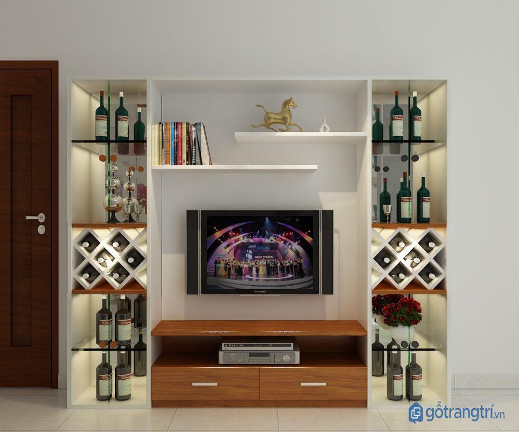 Kệ tivi kết hợp tủ rượu mang đến vẻ đẹp sang trọng. (Ảnh: internet)