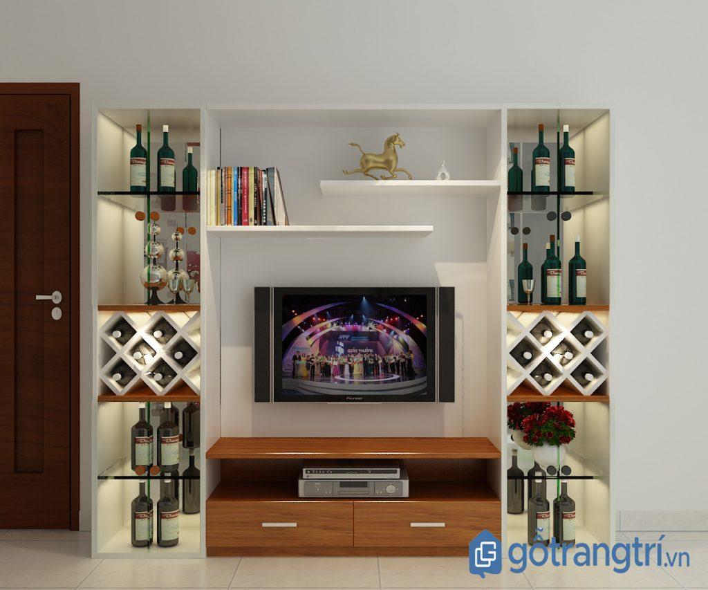 Kệ tivi kết hợp tủ rượu sang trọng, hiện đại. (Ảnh: Internet)