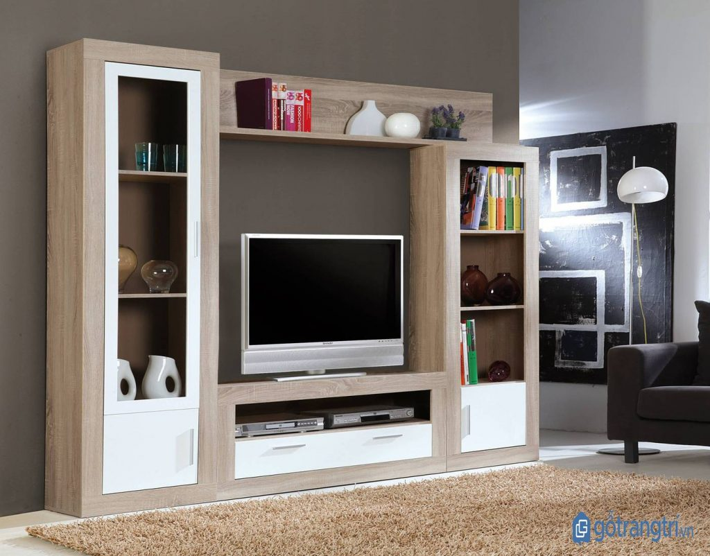 Kệ tivi kết hợp tủ trang trí đẹp mắt, hiện đại. (Ảnh: internet)