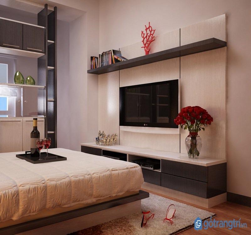 Chọn kệ tivi phòng ngủ có tông màu trầm mang lại sự ấm cúng. (ảnh: internet)